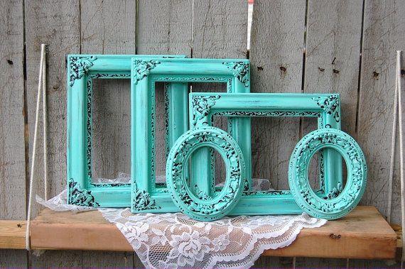 5 Shabby Chic Upcycled Photo Frames Tiffany par TheVintageArtistry, $60.00