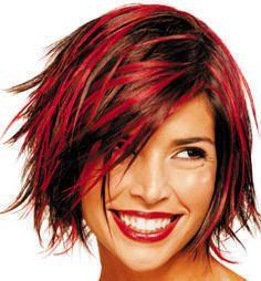 RED HIGHLIGHTS: Hair Ideas, Hair Colors Ideas, Shorts Hair, Red Hair, Haircolor, Hair Cut, Hair Style, Funky Hair, Red Highlights
