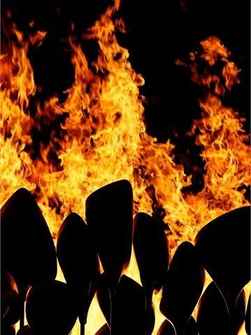 The Olympic Cauldron is lit