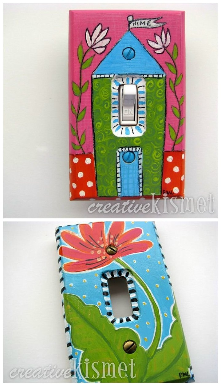 Arts and crafts switch plate covers - Colorful Hand Painted Light Switch Plate Cover By Creativekismet