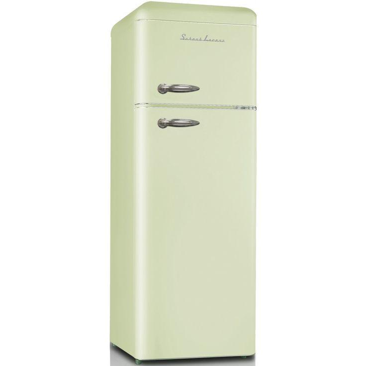 Schaub Lorenz SL210 SG mint-groene dubbeldeurs retro koelkast. Deze hoogglans mint green SL210 SG koelkast heeft een zuinig A++ energielabel en een totale inhoud van 208 liter.