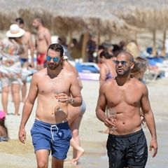 EXCLUSIVE Prison Break star Amaury Nolasco soaks up some sun as he walks shirtless in Mykonos