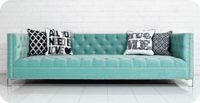 New Deep Sofa in Regal Spa Blue Velvet :: Room Service Store