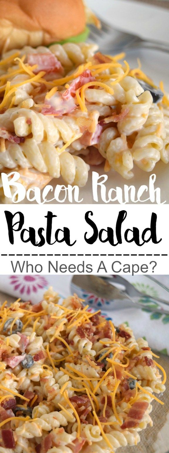 Bacon Ranch Pasta Salad is the perfect side for all your summer meals! Creamy, easy to prepare and always a hit, you'll love this dish! | Who Needs A Cape?