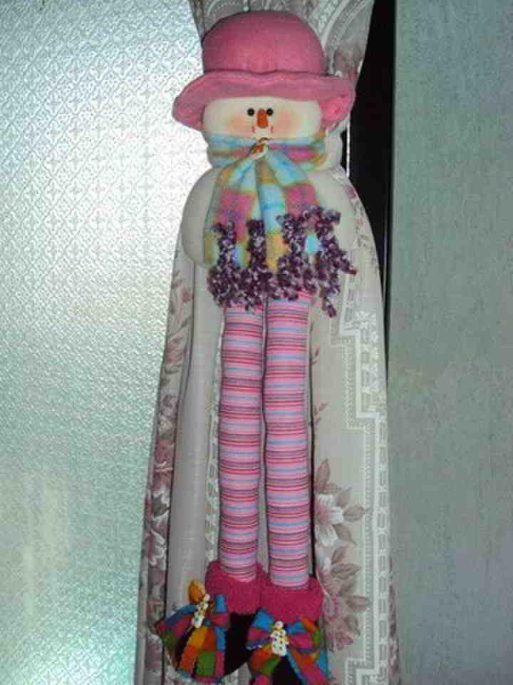 Cortinero muñeco de nieve rosa
