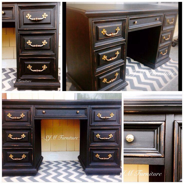 Vintage Bassett Desk Painted In Quot Boot Black Quot Valspar Chalk