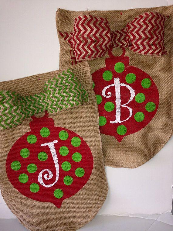 Christmas Ornament Burlap Garden Flag by mynestcreations on Etsy, $20.00