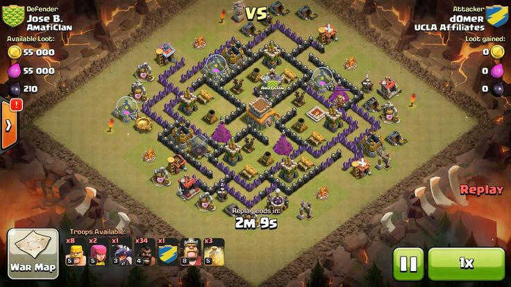 Attacker TH8: 2 Level 5 Archer, 8 Level 5 Barbarian, 1 Level 3 Dragon, 34 Level 4 Hog Rider, 5 Level 5 Hog Rider, Level 8 Barbarian King, 3 Level 5 Healing Spell Defender TH8: Level 8 Barbarian King, Rank 5/20