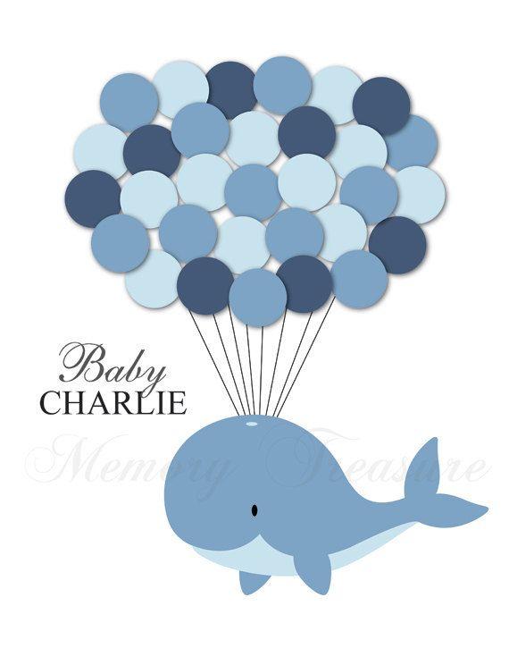 Baby Shower Guest libro alternativo balena Baby di MemoryTreasure