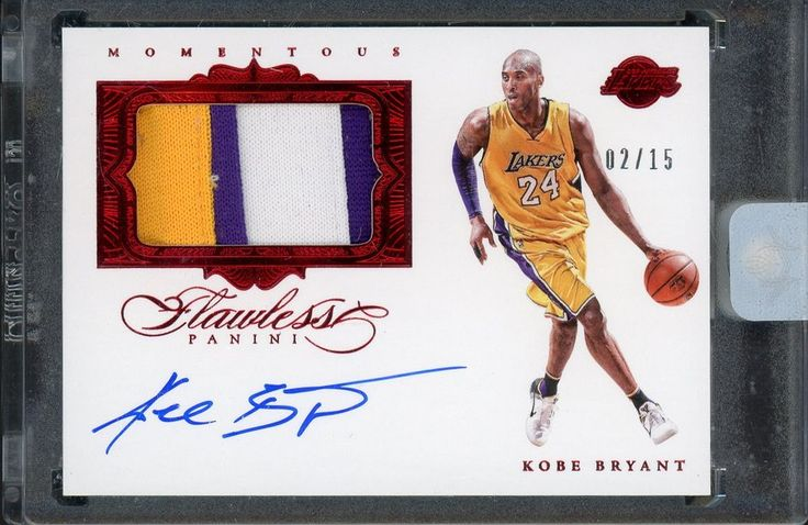 2015-16 Flawless Momentous Ruby Kobe Bryant Lakers 3-Color Patch AUTO 2/15 #LosAngelesLakers