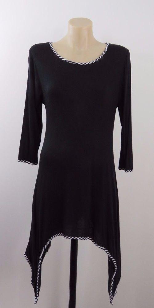 Size L 14 J MODE Ladies Black Asymmetrical Top Tunic Gypsy Casual Work Design #JMode #Tunic #Casual