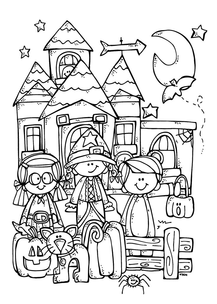 Funny Kids And Halloween Coloring Page For Printable Free