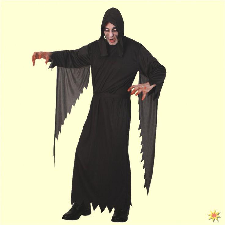 Kostüm Sensenmann, Henker Voll gruselig! Das Sensenmann Kostüm ist ein beliebtes Kostüm zu Halloween. Die schwarze Robe hat fransig geschnittene Ärmel, eine schwarze Haube und einen passenden Gürtel. Ein cooles Horror-Kostüm für Fasching,