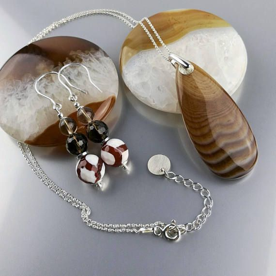 Brown gemstone jewelry set: agate, smoky quartz and sterling silver. Designed&made by Agnaart https://www.etsy.com/listing/508622912/sterling-silver-gemstone-earrings-and