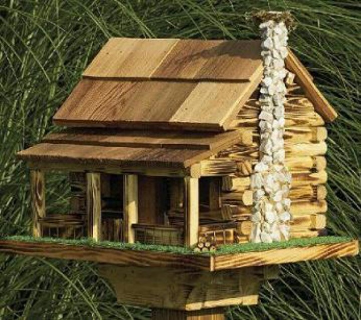 Log cabin birdhouse art and craft ideas pinterest for Diy stone birdhouse