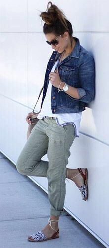 Loving this whole look; jean jacket, white too, olive pants and adorable sandals!