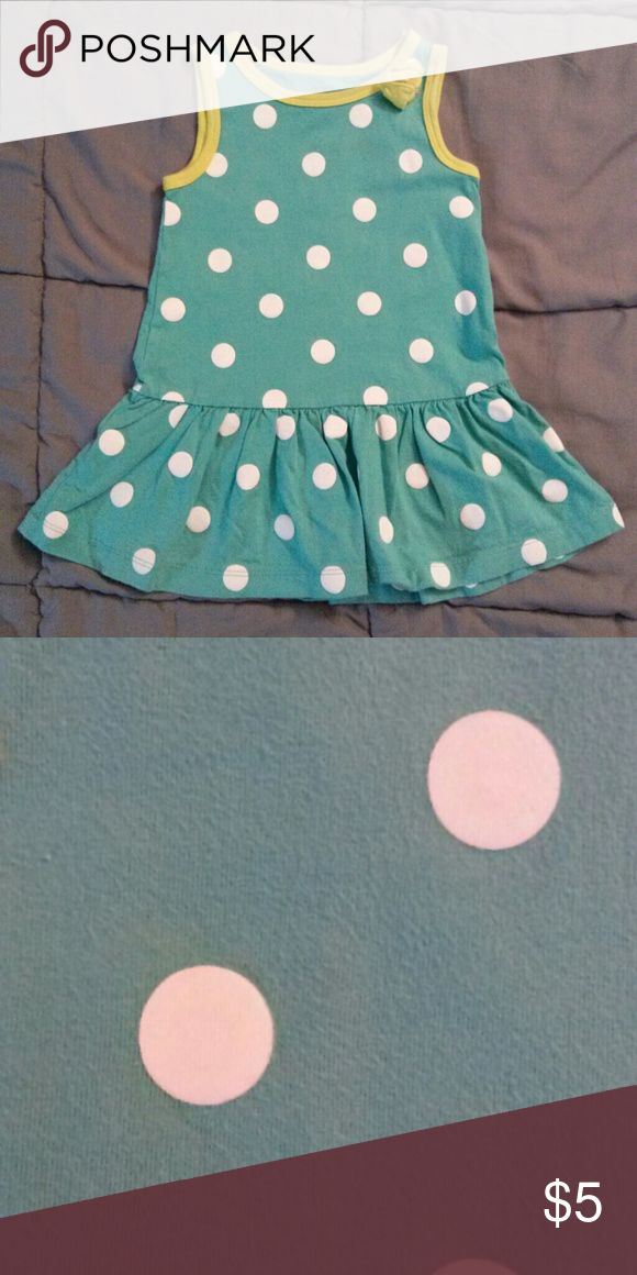 Carter's Dress GUC. Teal with white polka dots and lime green trim around the neck and arm holes. Tiny spot on front. Looks cute paired with leggings Carter's Dresses Casual