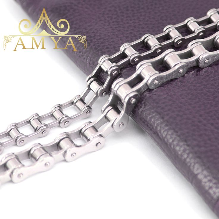 AMYA Fashion Jewelry Punk 316L Stainless Steel Bracelet& Bangles For Cool Mens Biker Bicycle Motorcycle Chain Men's Bracelets