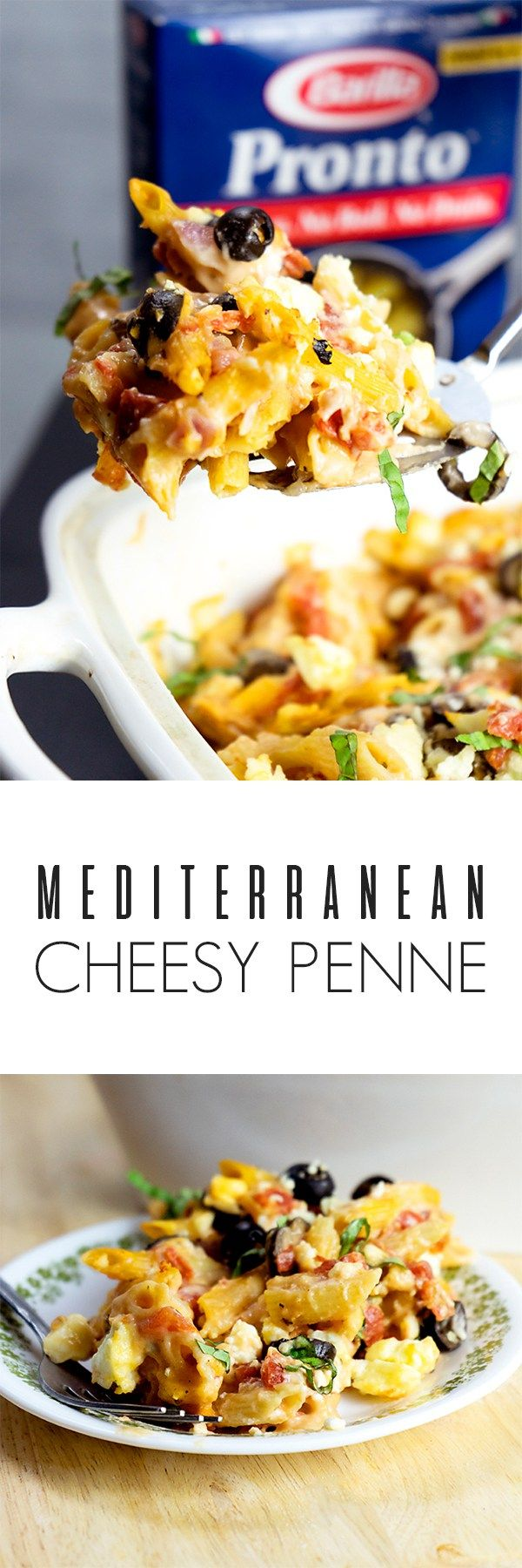 Mediterranean Cheesy Penne with Barilla® Pronto® Penne is the perfect one-pan meal to make for your family or to leave with the babysitter! | Kosher Recipes | Vegetarian Recipes | #WonderfulYourWay #ad