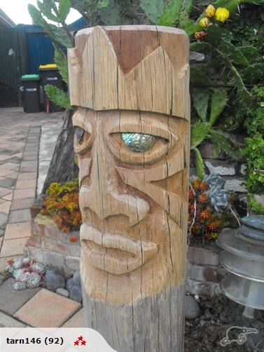 Tiki carving from a hardwood powerpole.
