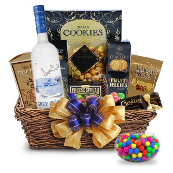 Grey Goose Vodka Gift Basket; Take a gander at a Grey Goose Gift Basket. | spiritedgifts.com