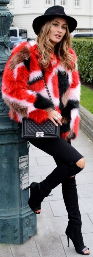 Black Fedora Hat, Red Multi Faux Fur Jacket From Guess, Black Sweater, Black Ripped Jeans, Black Cutout Booties || FURRY DAYS || Lima's Wardrobe || WannabeMag