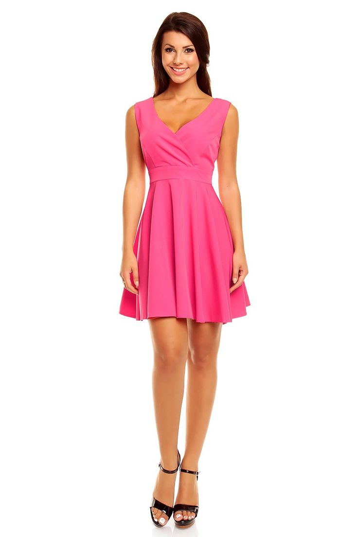 Pink Structured Wrap style Flare Skirt Dress