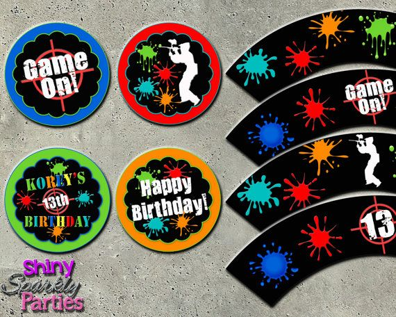 PAINTBALL CUPCAKE TOPPERS and Cupcake by ShinySparklyParties