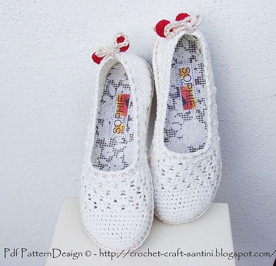 Zapatillas tejidasTurn Crochet, Lace Pattern, Crochet Shoes, Espadrilles Tom, Street Shoes, Crochet Slippers, Crochet Crafts, White Lace, Ingunn Santini