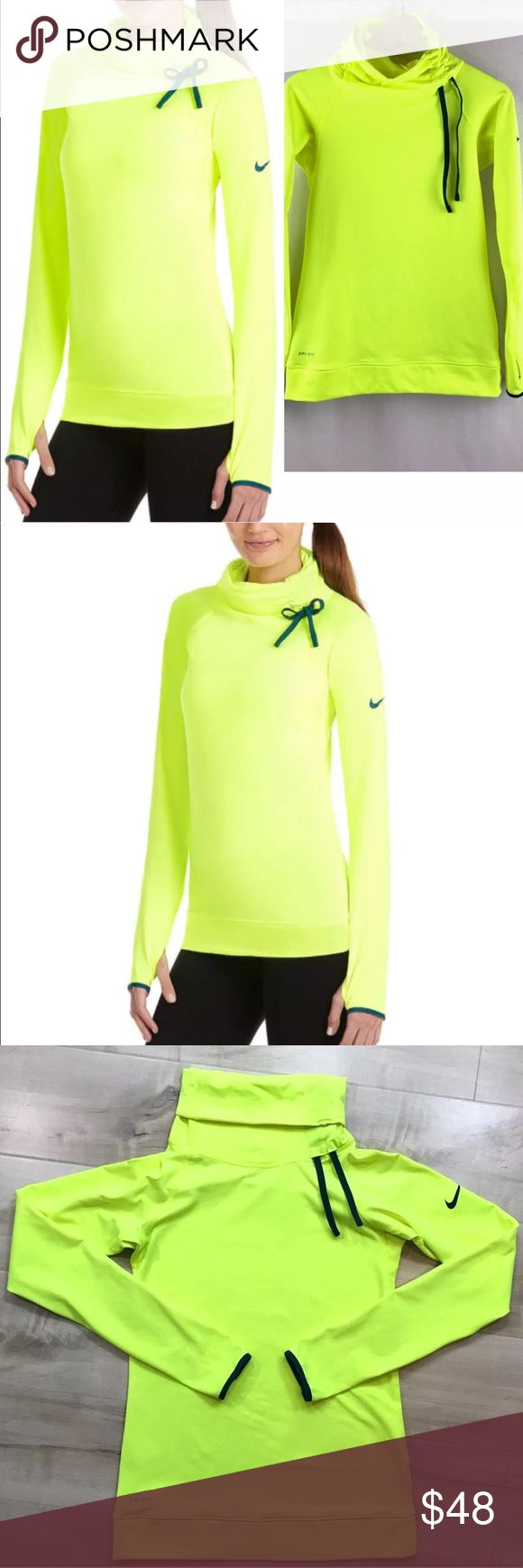 "Nike Pro Dri-Fit Hyperwarm Pullover Neon * Nike Pro   * Women's Dri-Fit   * Hyperwarm   * Long Sleeve Pullover   * Neon Yellow   * 88% polyester/12% spandex  *Excellent Condition; Like new  * Size Small - Approximately 15"" across at the underarms, and 24"" long Nike Tops Sweatshirts & Hoodies"