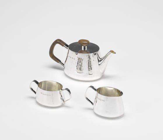 ROBERT WELCH: A silver three piece tea service,