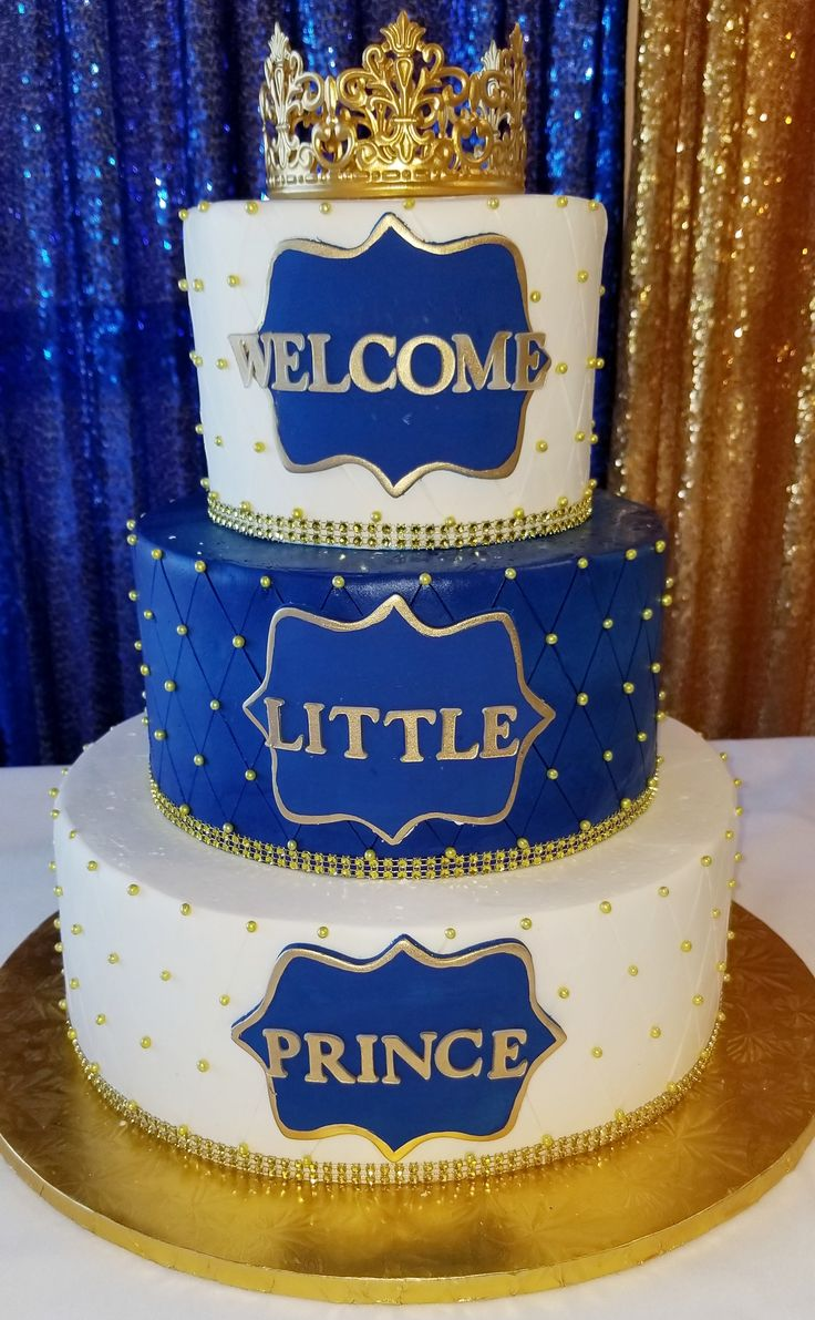 Calumet Bakery Welcome Little Prince Royal Blue And Gold