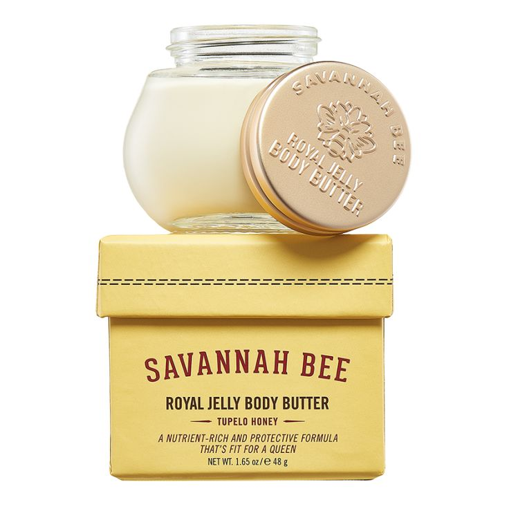 New fresh tupelo blossom fragrance with soft hints of vanilla and lemon is added to our signature super rich formulation that combines royal jelly and other hive treasures as well as skin-quenching butters and essential oils. Tupelo honey is the cornerstone of the Savannah Bee Company and now we bring our signature Tupelo honey scent to our best-selling Royal Jelly Body Butter!