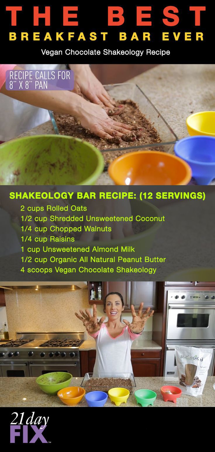 Autumn's favorite 21 Day-Fix Shakeology Breakfast Bar!  1yellow, 1/2 red, 1/2 blue Makes 12 Bars