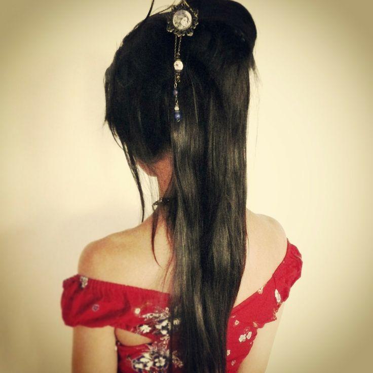 Pic à cheveux Geisha tons bleus. : Accessoires coiffure par mes-tites-lilis