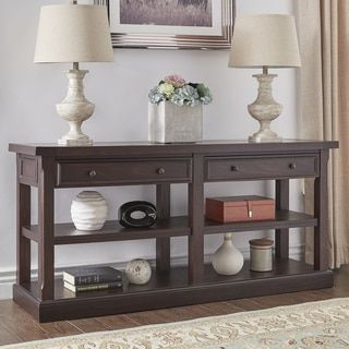 Shop for Jenson Espresso Wood 2-Drawer Sofa Table TV Stand by TRIBECCA HOME. Get free shipping at Overstock.com - Your Online Furniture Outlet Store! Get 5% in rewards with Club O!