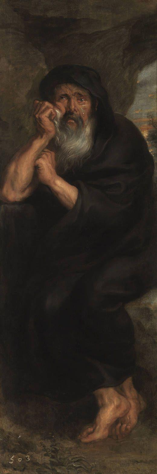"""""""Heráclito, el filósofo que llora"""", Pedro Pablo Rubens (Taller de). Óleo sobre lienzo, 1636 – 1638"""