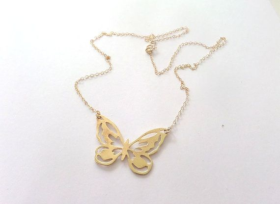 Butterfly necklace, gold butterfly pendant, charm, gift for her, mom on Etsy, 142.86 ₪