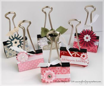 Spiff up binder clips. Can use them to hold pictures, name tags, etc. Probably a ton of other uses too.