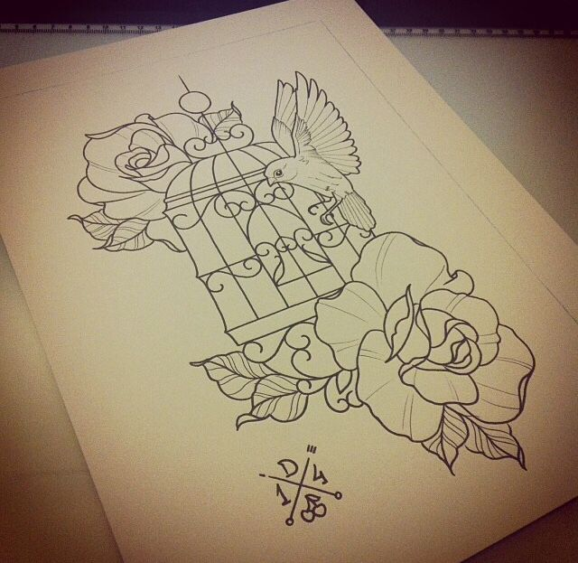 Bird cage tattoo design