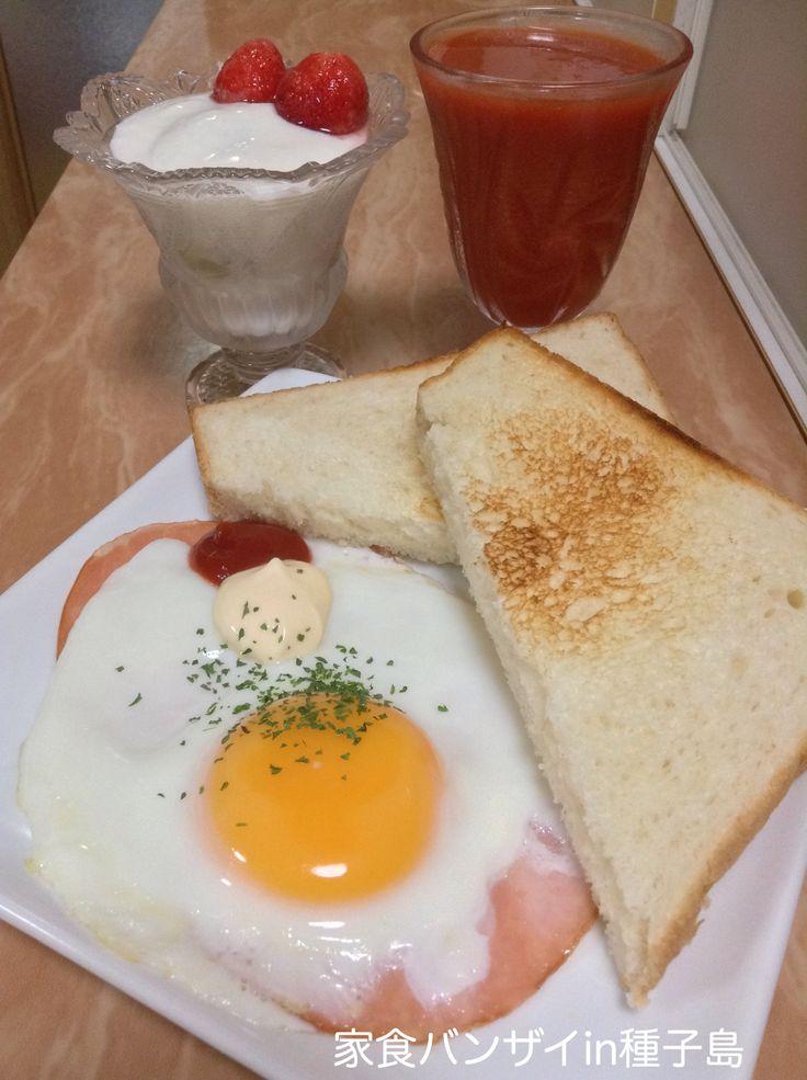 2015/7/16 朝食 ハムエッグとトースト