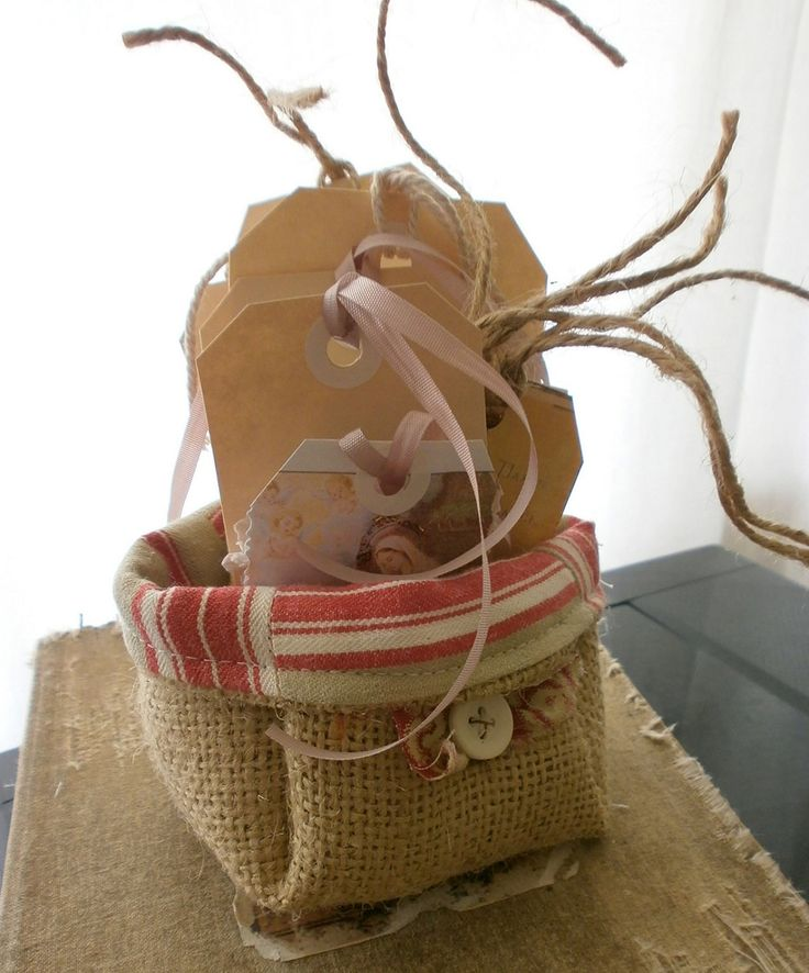 burlap and ticking with tags..could make from linen..