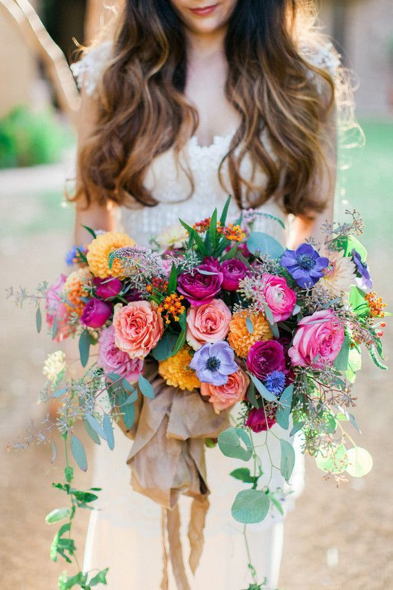 Colorful bridal bouquet, boho wedding