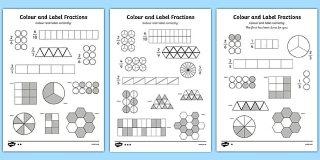 New Colour And Label Fractions Worksheet Fractions Worksheets Shading Fractions Fractions Fractions of shapes worksheets pdf