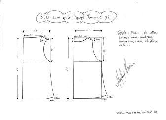 Блуза схема моделирования с dégagé размером 38 воротник.