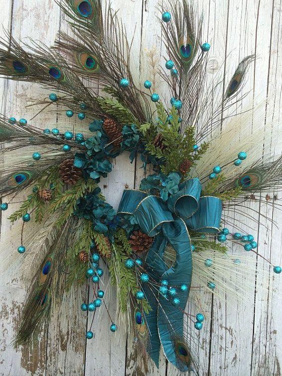 Peacock Christmas Wreath Teal Peacock Wreath by marigoldsdesigns
