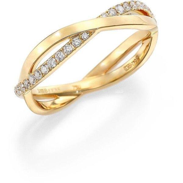 De Beers Infinity Diamond & 18K Yellow Gold Half Band Ring ($2,400) via Polyvore