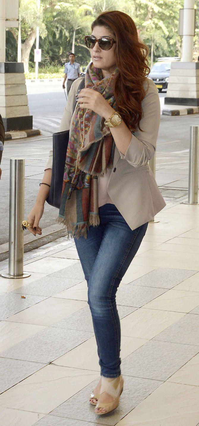 Twinkle Khanna at Mumbai airport. #Bollywood #Fashion #Style #Beauty #Hot #WAGS #Denim