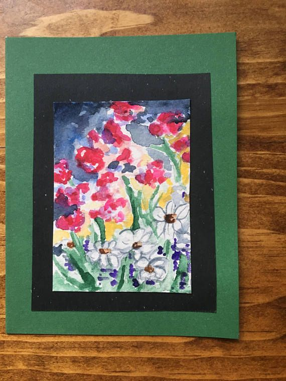 Red Poppy Note Card Original Watercolour Painting 5
