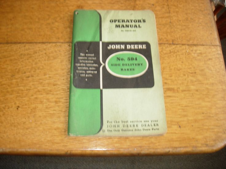 John+Deere+no+594+Side+Delivery+Rake+Owners+Manual+w/Parts+List